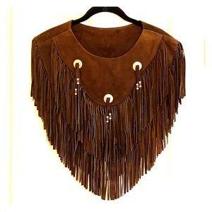 Jackets & Blazers - Vintage Suede fringe cape